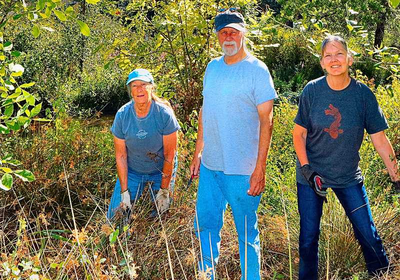 DAVID F. ASHTON - Here, busy pulling weeds, are Friends of Westmoreland Park volunteers Robin and Mike Rodrigues, and Patti Farris.