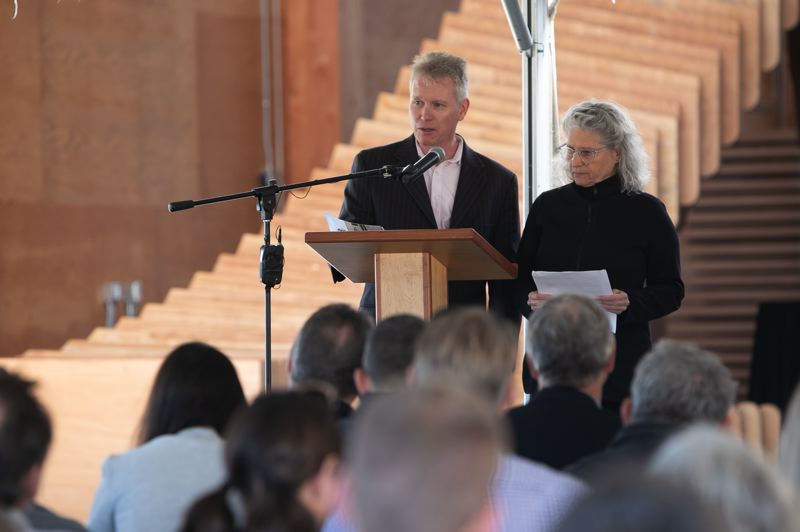 PMG PHOTO: AMANDA LOMAN - Iain Macdonald, director of the TallWood Design Institute, and Judith Sheine, director of design, speak during the grand opening for the A.A. Red Emmerson Advanced Wood Products Laboratory.