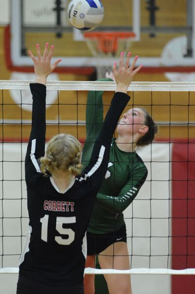 PMG PHOTO: DAVID BALL - Estacadas Makaelyn Jennings rises up for an attack during the Rangers five-set loss in Corbett on Monday night.