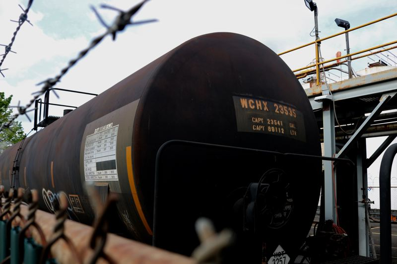 PMG PHOTO: ZANE SPARLING - An oil train tanker car sits on Northwest Front Avenue at a facility near Zenith Energy's Northwest Portland terminal earlier this year.