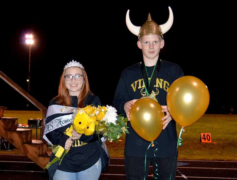 PMG PHOTO: CINDY FAMA - The Colton High School homecoming queen and king are Kayleigh Ledbury and Wyatt Angell.
