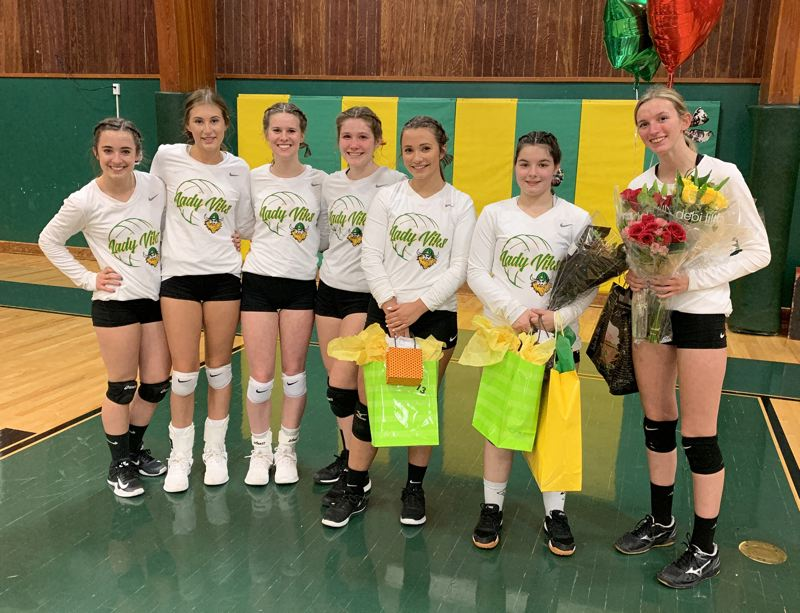 PMG PHOTO: DEREK WILEY - Colton honored its seven senior volleyball players before Monday's match against Culver.