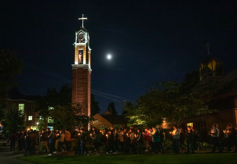 PMG FILE PHOTO - The University of Portland community held a candlelight vigil on campus for missing student Owen Klinger.