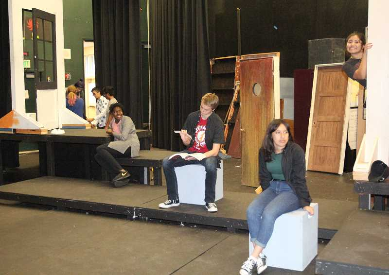 PMG PHOTO: JUSTIN MUCH - Woodburn High School students rehearse for the 2019-20 seasons fall production, Devised Play Festival.