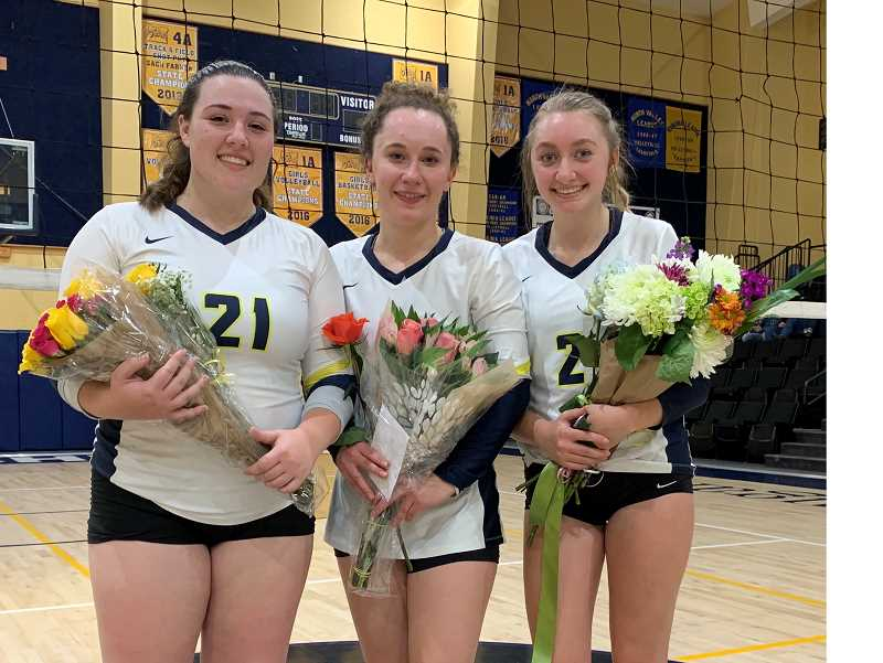 PMG PHOTO: DEREK WILEY - Country Christian seniors Jera Warrington, Madison Behrendt and Sophia Griffith were honored on Monday.