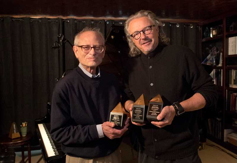 PGM PHOTOS: JAIME VALDEZ - Rabbi Alan Berg and musician Michael Allen Harrison hold Pamta 2015 awards they won for their work on Soul Harmony: The Story of Deborah Chessler, Sonny Til and the Orioles, A New Musical.