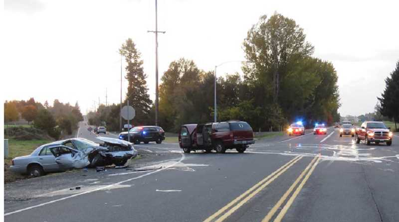 SUBMITTED PHOTO - A passenger in a large sedan died, and a Culver man, who was a passenger in a Chevrolet Suburban, was seriously injured in a crash on Highway 22, near Stayton.