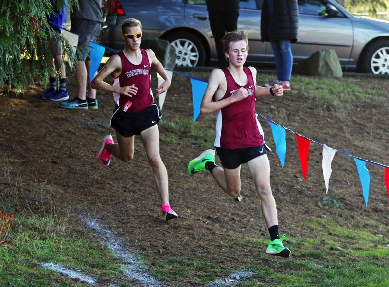 PMG PHOTO: DAN BROOD - Sherwood High School seniors Nate Hicken (right) and Thomas Osborne led the way for the Bowmen boys in their victory at Glencoe on Oct. 23.