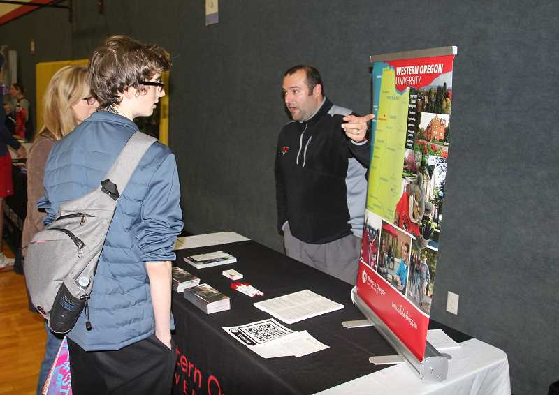 PMG PHOTO: JUSTIN MUCH - Parents and students learned about dozens of post-secondary education options at  North Marion High Schools College & Trade School Preview Night, Thursday, Oct. 25.