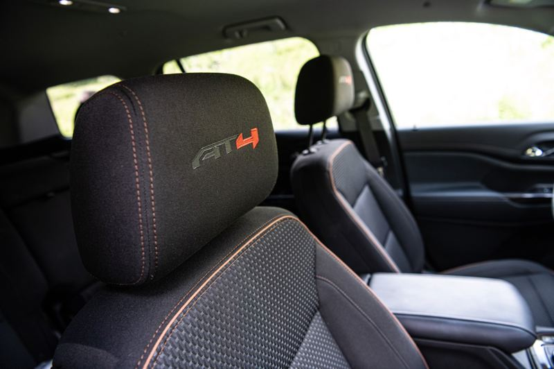 COURTESY GMC - Special AT4 trim is standard on either the cloth or leather seats of the model.