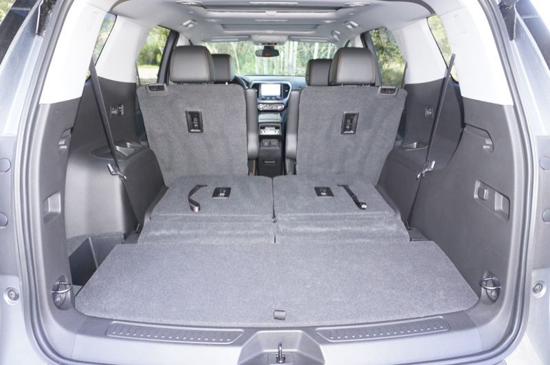 PMG PHOTO: JEFF ZURSCHMEIDE - There is an enormous amount of cargo space available in the 2020 GMC Acadia (three-row version shown with third row folded down).