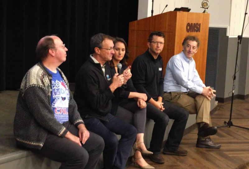 PMG PHOTO: JIM REDDEN - Answering questions at the 27th Annual Winter Weather Forecast were (from left): Kyle Dittmer, Tyree Wilde, Kelley Bayern, Nelsen, and Dr. Clifford Mass.