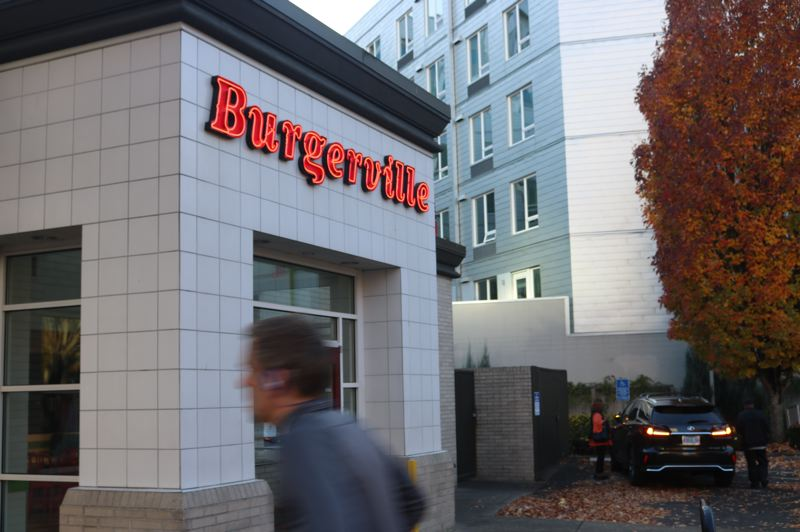PMG PHOTO: ZANE SPARLING - The unionized Burgerville joint near the Oregon Convention Center in Portland is shown here.