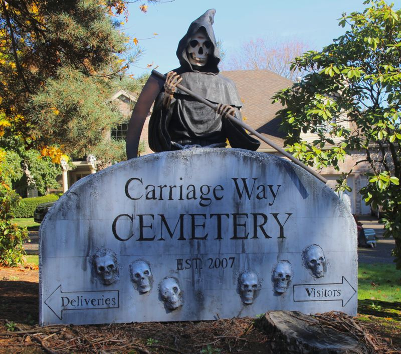 One of the most elaborate Halloween scenes you'll find in West Linn is at the corner of Carriage Way and Suncrest Drive.