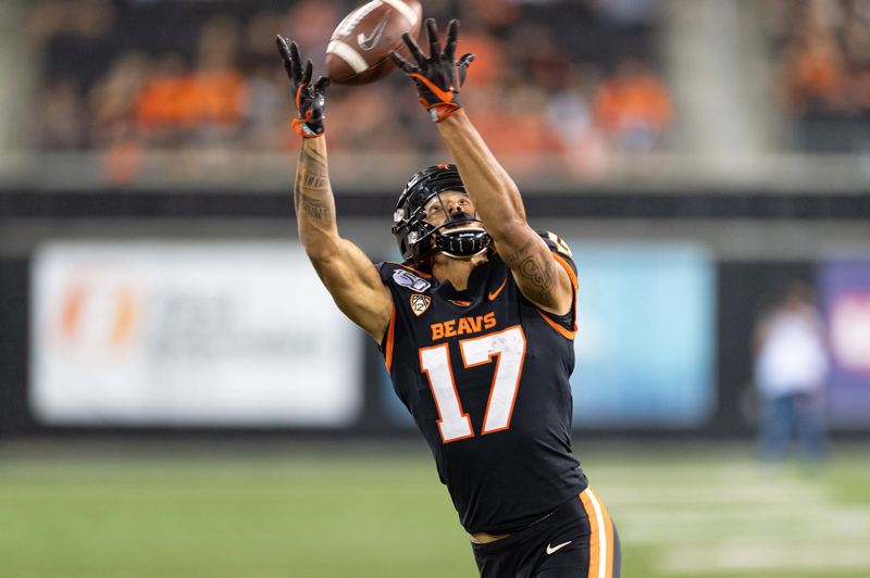 PMG PHOTO: CHRISTOPHER OERTELL - Wide receiver Isaiah Hodgins and the Oregon State Beavers hope to snag a win over the Arizona Wildcats this week.