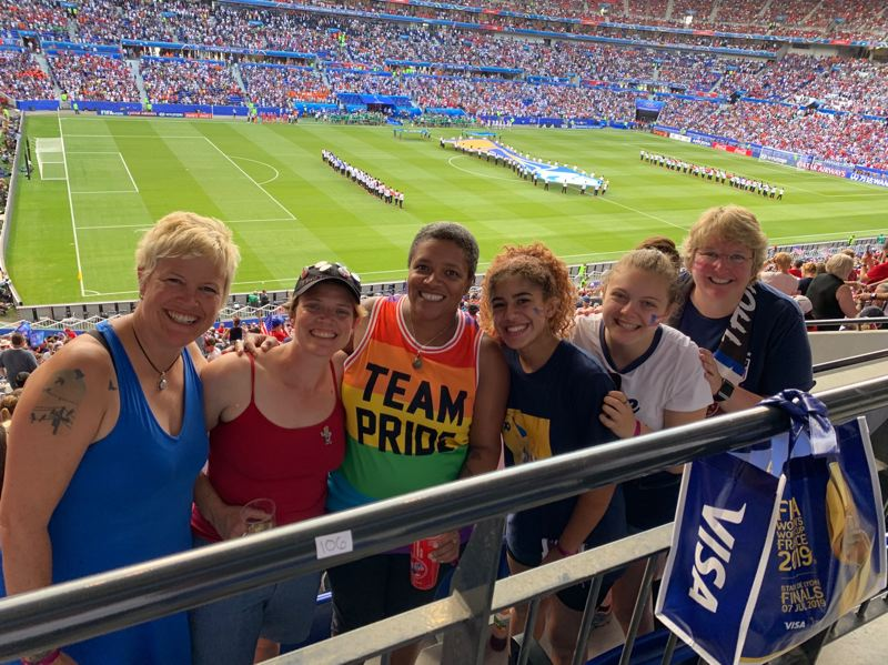 COURTESY PHOTO: CALLIOPE CRANE - Portlanders (from left) Indigo Corwin, Angie Wright, Calliope Crane, Amani Crane, Ellen Von Fortune and Judy Von Fortune were among the Thorns fans who gathered in France for the Womens World Cup.