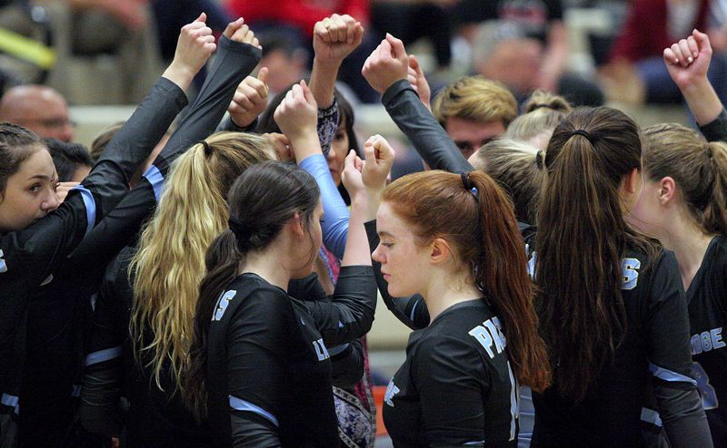 PMG PHOTO: JIM BESEDA - The Lakeridge volleyball team rallies together during its Senior Night home loss to Oregon City on Thursday, Oct. 24.