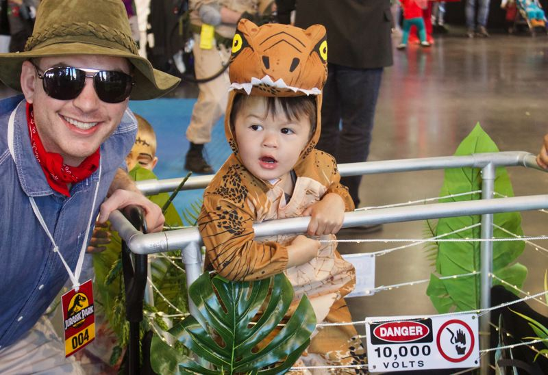PMG PHOTO: CHRISTOPHER KEIZUR - Rowan Murray, two and a half years old, told his mom he wanted to be a dinosaur for Halloween.