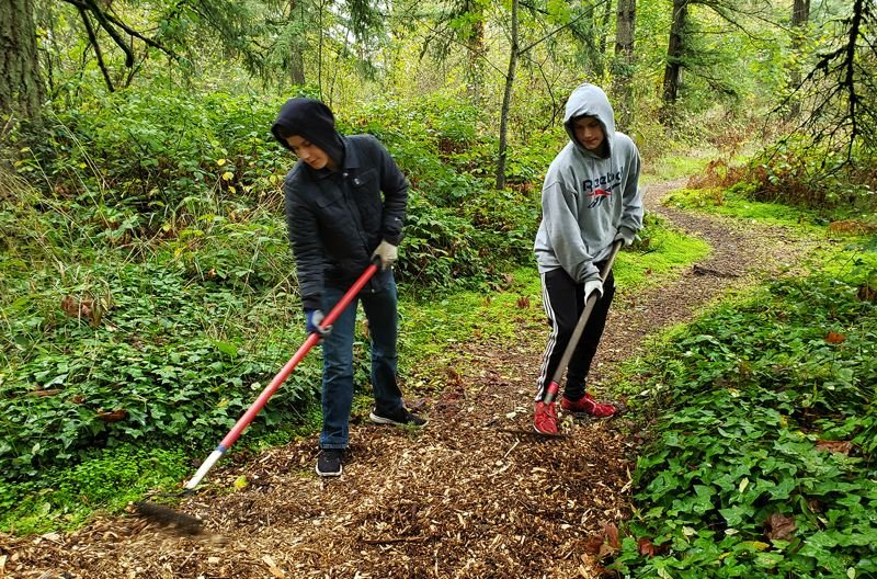COURTESY PHOTOS - Freshmen Jonas and Noah Porter spread bark mulch on paths at the Gladstone Nature Park, part of Gladstone High School's annual day of community service.