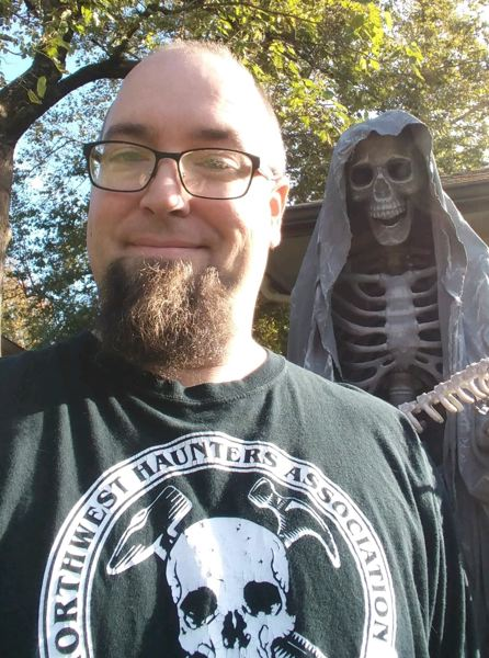 COURTESY PHOTO: NORTHWEST HAUNTERS  - Troy Crivellone may appear all smiles, but he works nearly year round to create and promote as many spooky-scary houses and yards for Halloween as possible.