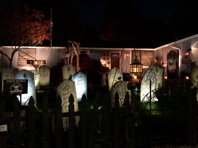 COURTESY PHOTO: NORTHWEST HAUNTERS  - The Northwest Haunters display Troutdale Graveyard lives up to its deadly serious name at 3610 S.E. Helen Court, Troutdale.