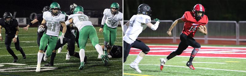 PMG PHOTOS - West Linn's Gavin Haines (left) and Oregon City's Morpheus Nithikhun will lead their teams into the 99th annual Battle for the Bridge at 7 p.m. Friday, Nov. 1, at West Linn High School.