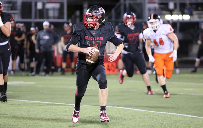 PMG PHOTO: JIM BESEDA - Clackamas quarterback Austin Atkeson has completed 161 of 204 passes for a league-leading 1,707 yards with 20 TDs heading into Friday's Mt. Hood Conference title game vs. Central Catholic.