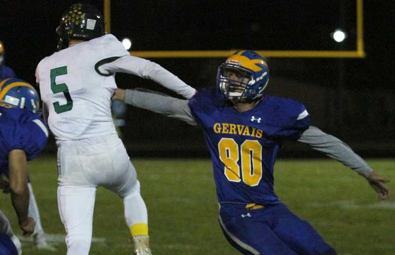 PMG PHOTO: PHIL HAWKINS - After the game, Gervais junior Auggie Guido said he was impressed with the level of school spirit shown at the Homecoming game, with a standing-room only crowd followed by a bonfire in the fields behind the high school to celebrate.