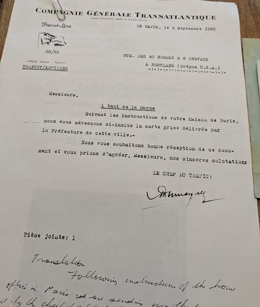 COURTESY PHOTO: DON DOWNING - The letter from the French government allowing the transport of the 'Marne Taxi' to America.