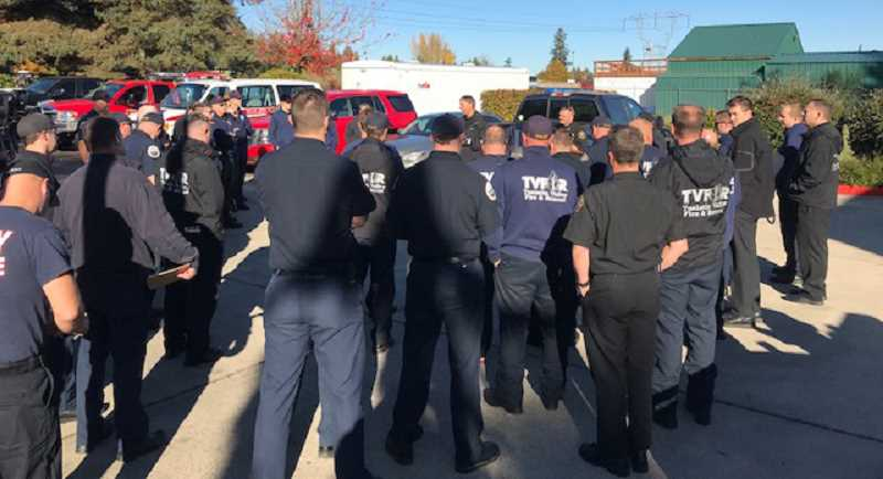 COURTESY PHOTO: CANBY FIRE DISTRICT - Firefighters headed to California from various districts in our area included four men from Canby's Fire District : Matt English, Brad Fang, Austin Holmes and Bo Ramos.