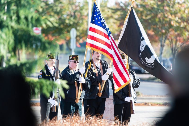 PMG FILE PHOTO - Members of the Veterans of Foreign Wars Post 2666 present the colors during a Veterans Day ceremony at the Washington County Veterans Memorial in Hillsboro.