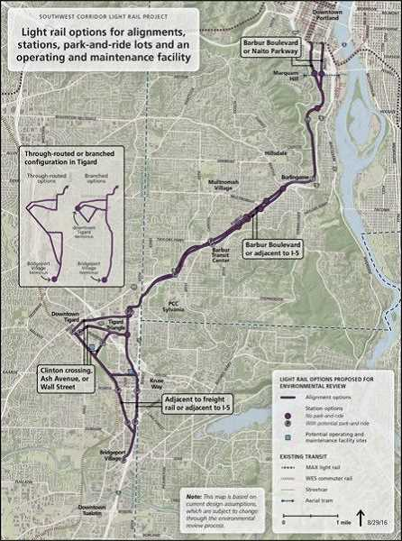 COURTESY OF TRIMET - A Southwest Corridor Light Rail Steering Committee will hold a public hearing on the proposed light rail route and new recommednations from TriMet.