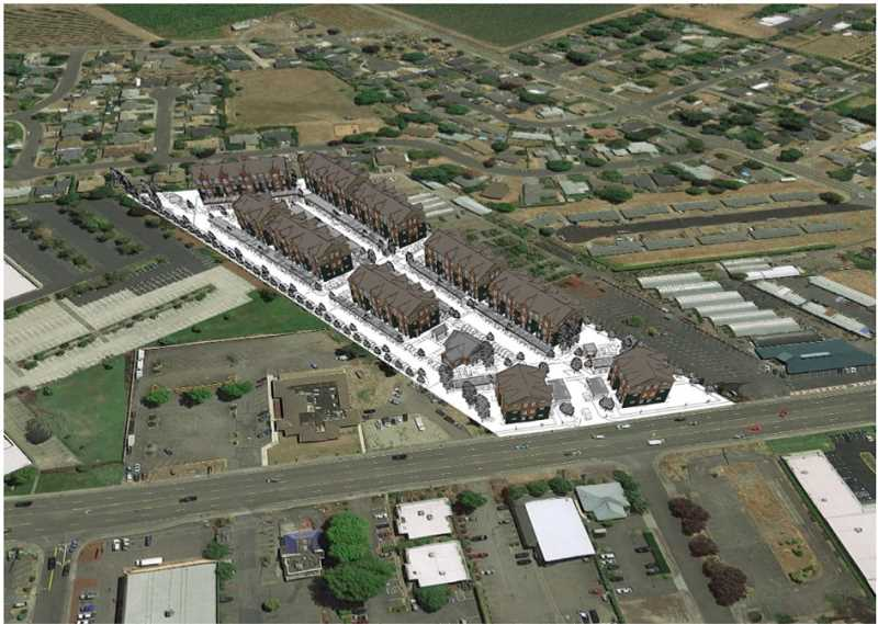 COURTESY OF CITY OF WOODBURN - An artistic rendition of the visioned 204-unit apartment complex proposed at the 1300 block of Highway 99E.