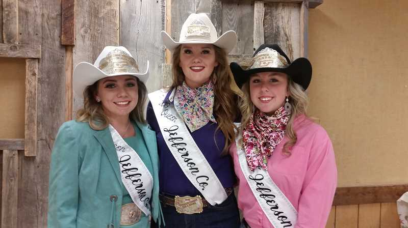 SUBMITTED PHOTO - From left to right, the 2020 Jefferson County Fair and Rodeo Queen Aschten Thomas, 2019 Queen, Lindsey Sullivan and 2020 Princess Brianna Smith. Smith and Thomas competed in the Jefferson County Fair and Rodeo Court Pageant Oct. 12, and received their respective titles for 2020.