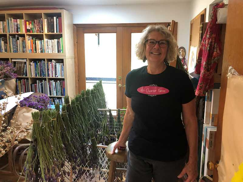 Ann Munsons art studio has been taken over by her garden and is used as space to dry flowers like these lavender bouquets which will be distributed in floral arrangements to seniors.