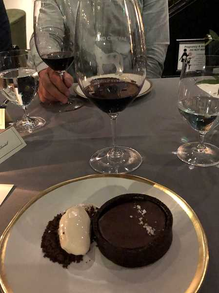 PMG PHOTO: BARB RANDALL  - Domaine Serene Wine Lounge at The Windward will open Dec. 5. Barb Randall got a sneak peek at what the wine lounge will offer, including this dessert of chocolate tart served with cajeta and espresso ice cream. The inspiration for the dessert was a 2016 Domaine Serene Grand Cheval Oreogn Red Wine, which is a blend of syrah and pinot noir.