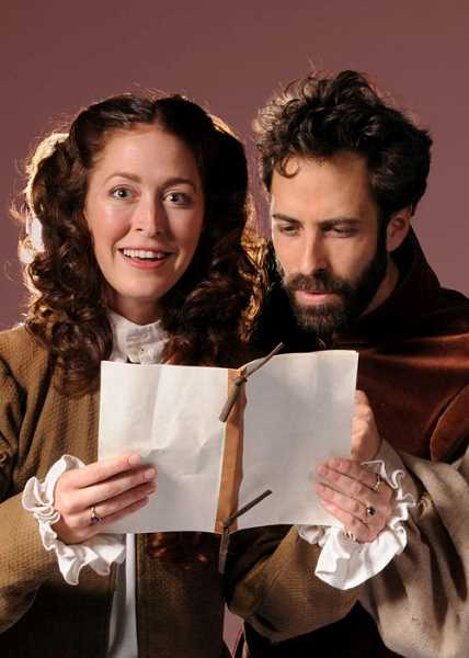 COURTESY PHOTOS: TRIUMPH PHOTOGRAPHY - Kelsey Glasser as Viola de Lesseps and Murri Lazaroff-Babin as Will in LTCs Shakespeare in Love opening Nov. 1 and running through Dec. 8 at Lakewood Center for the Arts.