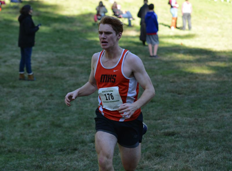 PMG PHOTO: DEREK WILEY - Molalla junior Noah Roth finished third at the Tri-Valley Conference district meet Wednesday.