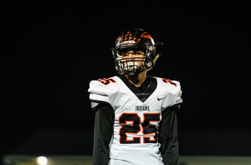 COURTESY PHOTO: JOSI WELTER - Colton Frates, a senior cornerback, picked off two Cleveland passes and returned both for touchdowns last week as Scappoose High defeated the Warriors on Senior Night.