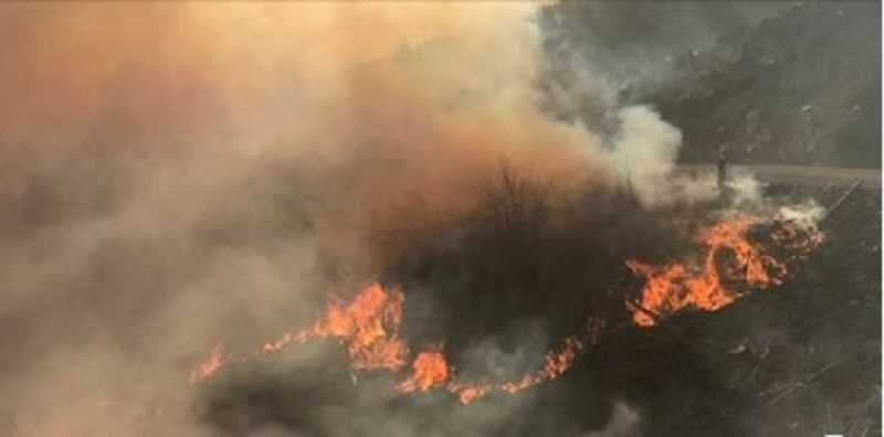 COURTESY PHOTO: KOIN 6 - The North Fork Fire was one of 22 fires that broke out on Oct. 29 about 16 miles east of Molalla. Smoke from that and three other fires moved all the way to the coast driven by high winds and gusts.
