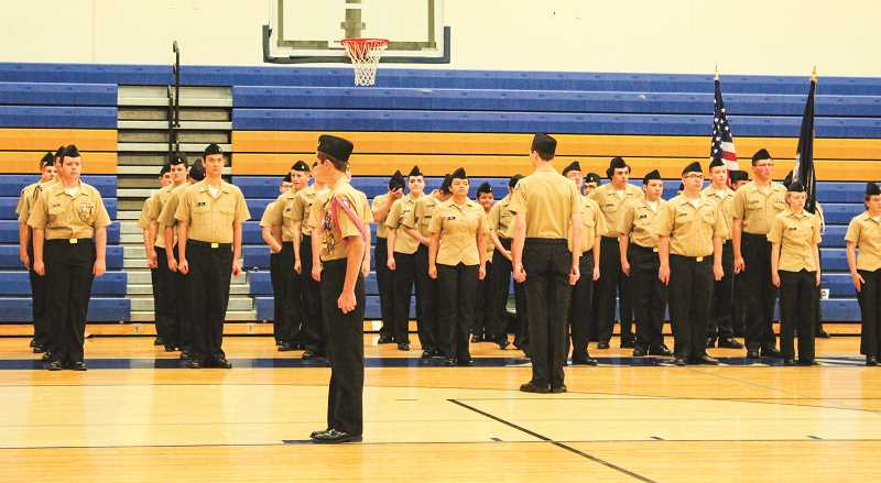 RAMONA MCCALLISTER - The Crook County NJROTC cadets get in formation for the Pass In Review Ceremony.