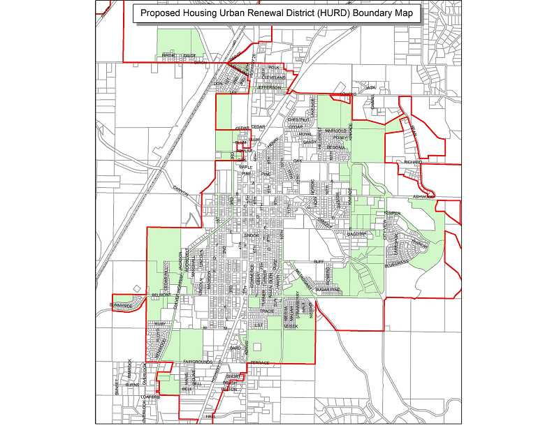 SUBMITTED MAP - The city of Madras is proposing a 700-acre housing urban renewal district within the city limits, shown on the map outlined in red. The green area represents the boundaries of the proposed housing urban renewal district. The Madras City Council will hold a meeting at 5:30 p.m. Tuesday, Nov. 12, in the council chambers at Madras City Hall, to hear public comment on the proposed district.