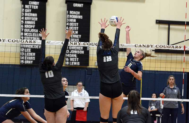PMG PHOTO: DEREK WILEY - Canby junior Daley McClellan had 28 kills Wednesday night against Grant in the first round of the Class 6A volleyball playoffs.