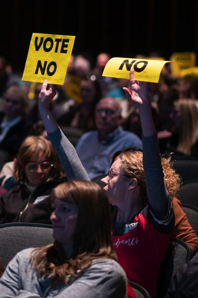 PMG PHOTO: CHRISTOPHER OERTELL - Hundreds of people showed up to Glencoe High School on Tuesday, Oct. 29 to voice their position on the Hillsboro School District's new comprehensive sexuality education plan.