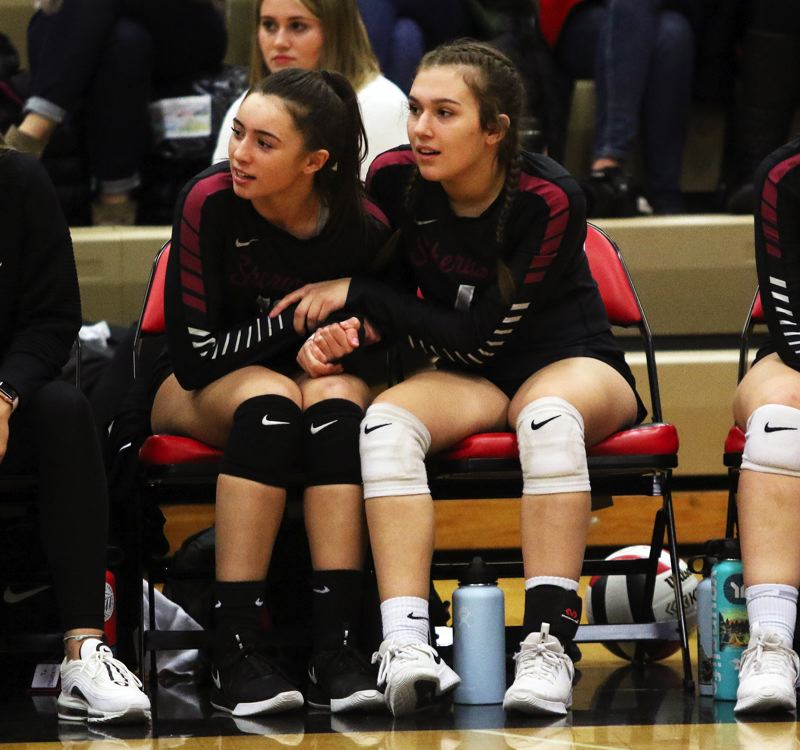 PMG PHOTO: DAN BROOD - There were plenty of tense moments during the Sherwood High School volleyball team's five-set state playoff win at Clackamas on Oct. 30.