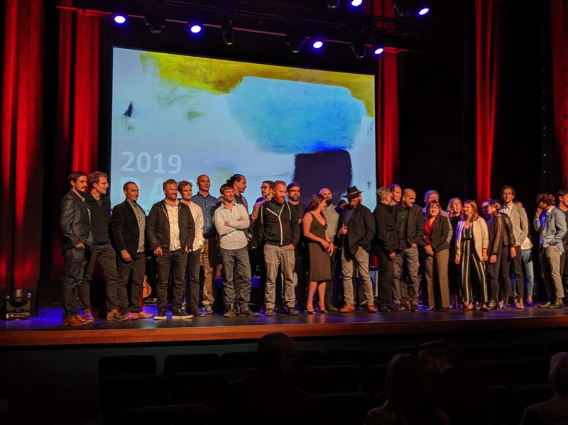 PMG PHOTO: JOSEPH GALLIVAN - All the winners at the 2019 AIA Oregon Awards on stage after the show at Revolution Hall.
