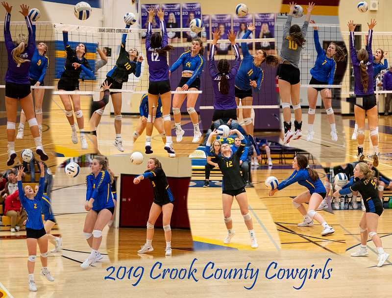 LON AUSTIN/CENTRAL OREGONIAN - The Crook County Cowgirls host Ashland Saturday in the first round of the state volleyball playoffs. The winner of that game advances to the state tournament, which will be held Friday and Saturday, Nov. 8-9 at Liberty High School in Hillsboro. Cowgirl team members include, counterclockwise from the top left Syrie Ossenkop, Mattee Simmons, McKenzie Jonas, Kenna Woodward, Liz Barker, Lily Cooper, Kendal Maycutt, Jenny McKinnon, Rebecca Cooper, Kacie Stafford, Anna Woodward, Stormie Camara, and Josie Kasberger.