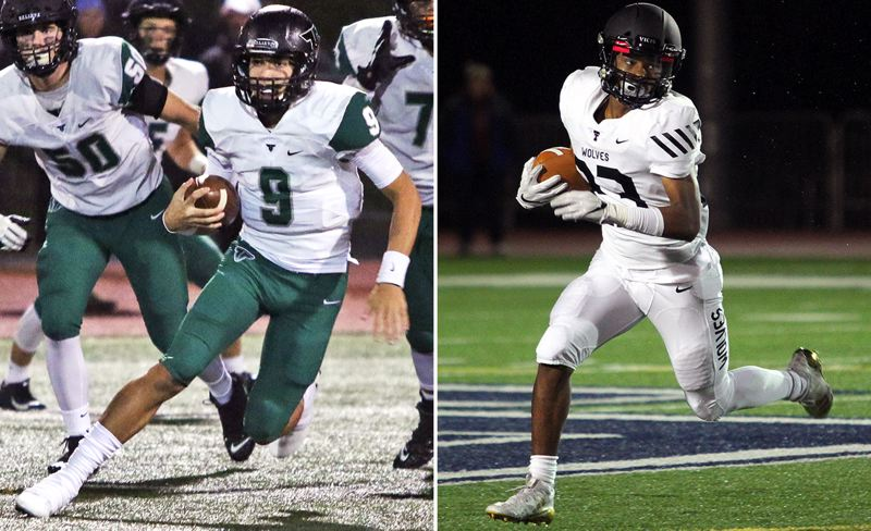 PMG PHOTOS - Tigard's Andrew Carter (left) and Tualatin's Malik Ross lead their teams into a regular season ending top-10 matchup at Tigard High School at 7 p.m. tonight (Friday, Nov. 1).
