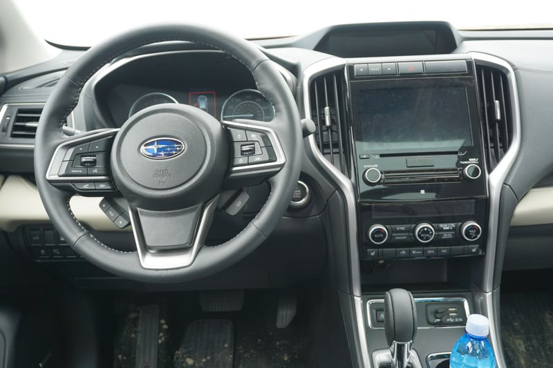 PMG PHOTO: JEFF ZURSCHMEIDE - The large display screen is the focus of the clean dash design in the 2010 Subaru Ascent Limited, which includes a wide range of safety systems.