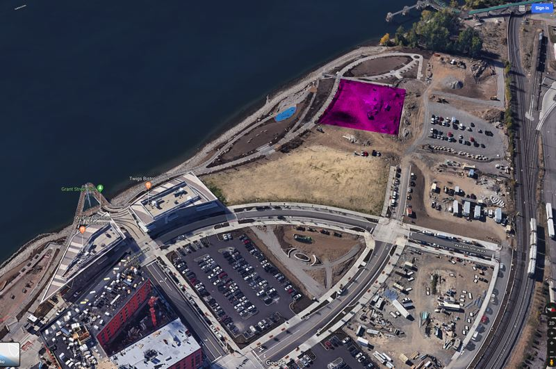 COURTESY: BLUE PINE CONSTRUCTION - The red shading shows the lot of the Columbia at the Waterfront Apartments on the revamped waterfront in Vancouver, Washington, known as Waterfront Vancouver USA. The building will be angled so two thirds of residents have a riverview.